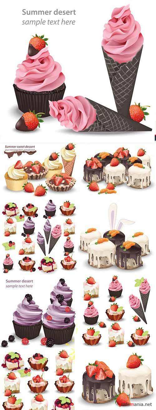 Sweet dessert holiday cake and cupcake with berries