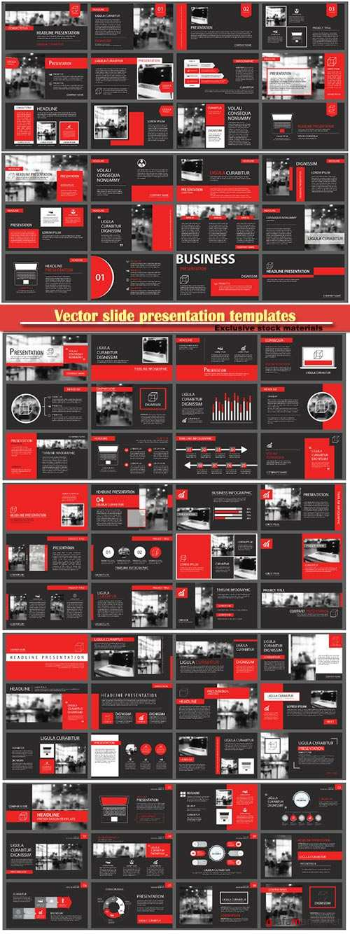 Vector slide presentation templates background, infographic business elements