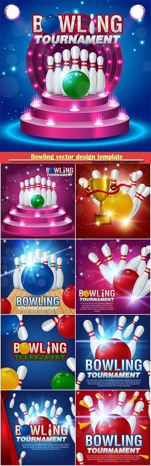 Bowling vector design template