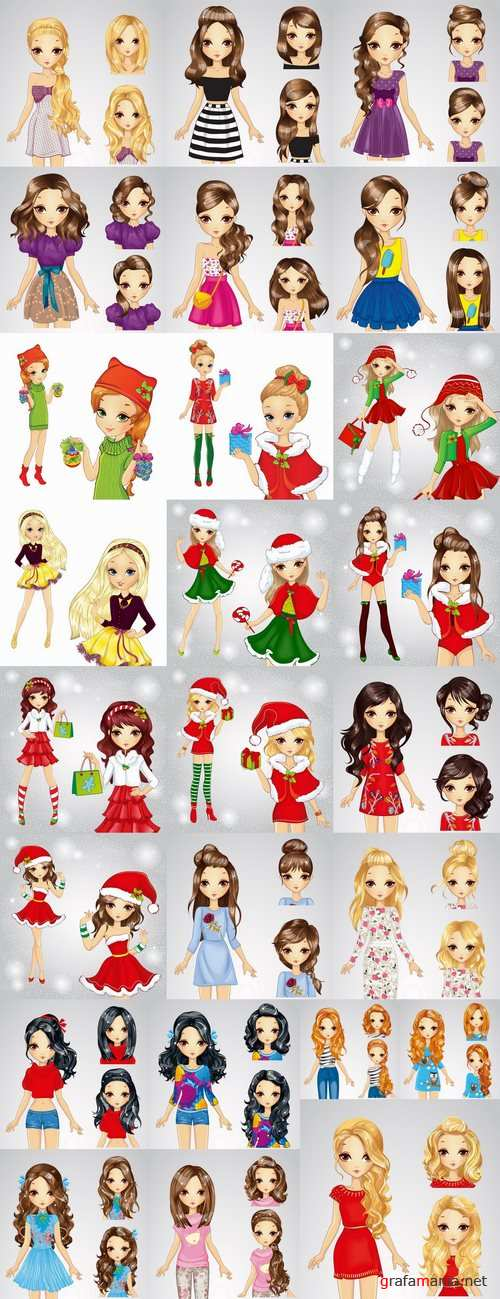 Female girl cartoon character in different clothes hairstyle 25 EPS