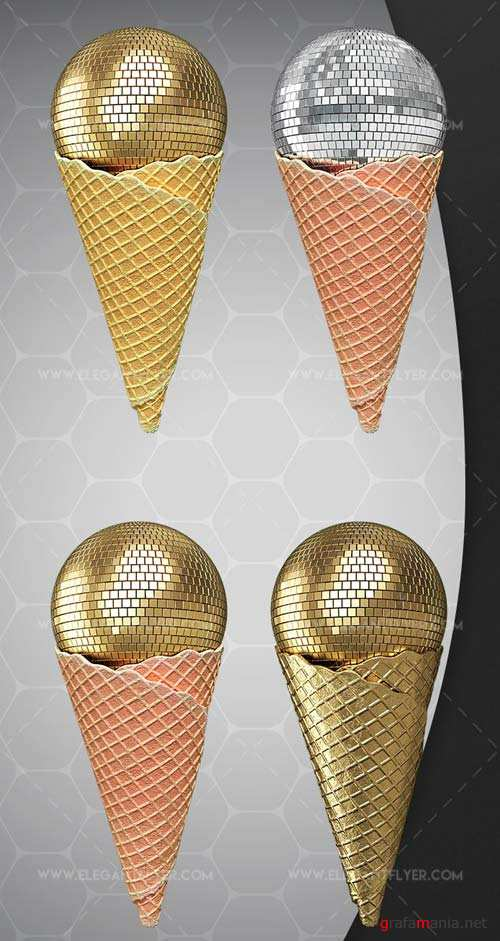 Disco Ice Cream V1 2018 Premium 3d Render Templates