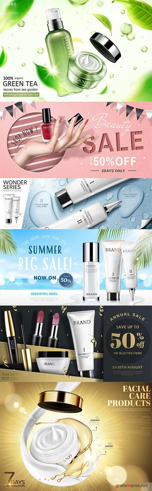 Trendy cosmetic product ads vector 3d illustration
