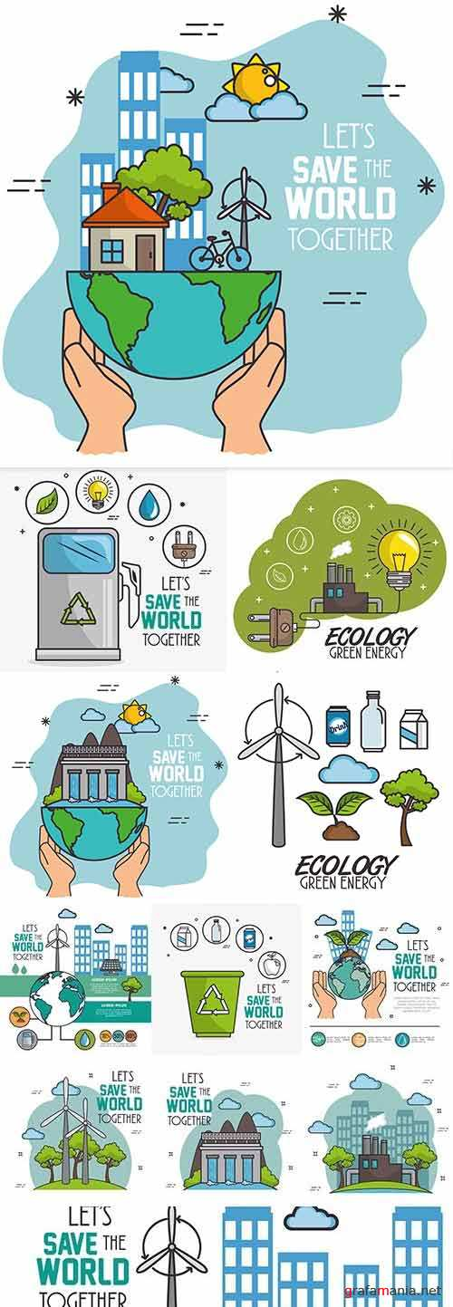 Ecology green nature protect environment illustration concept