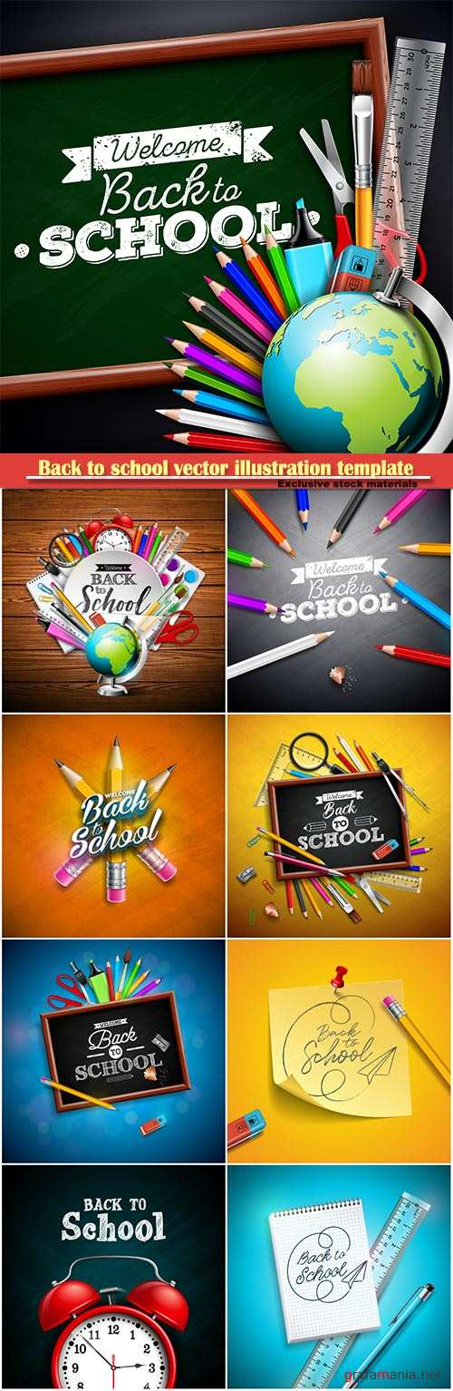 Back to school vector illustration template # 9