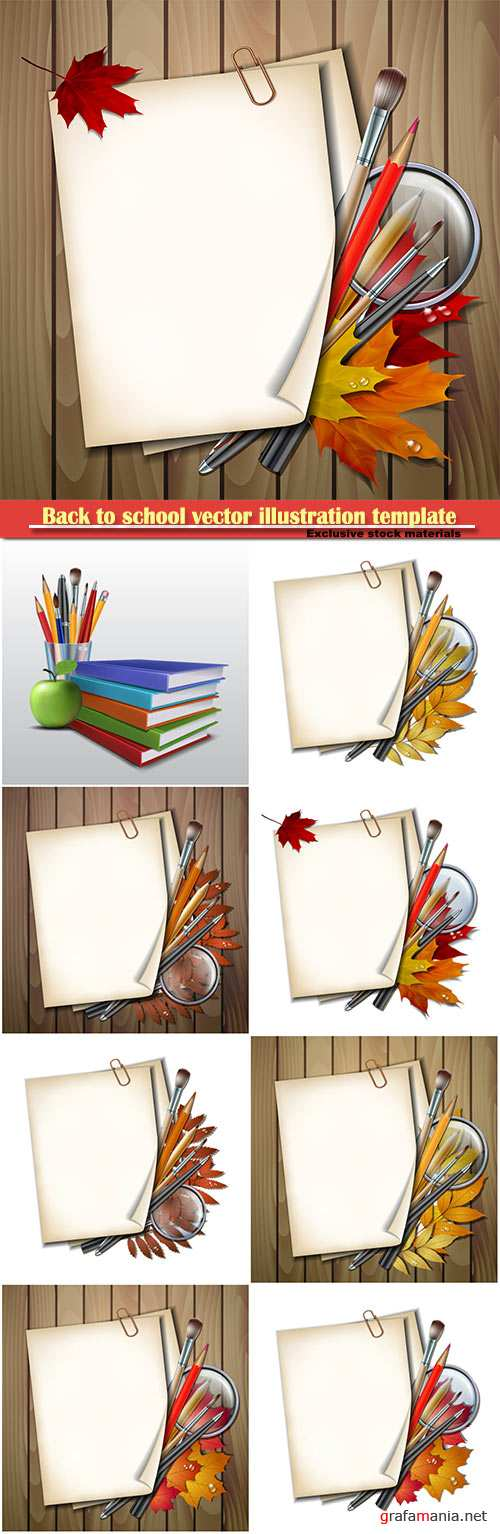 Back to school vector illustration template # 8