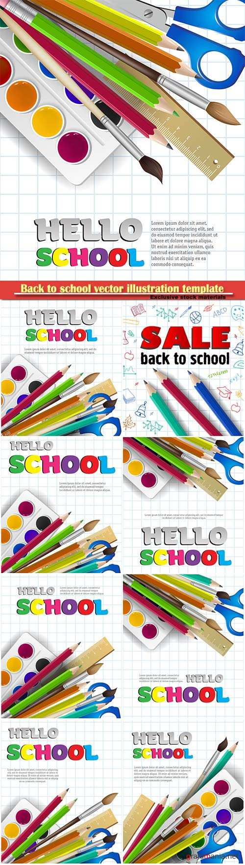 Back to school vector illustration template # 7