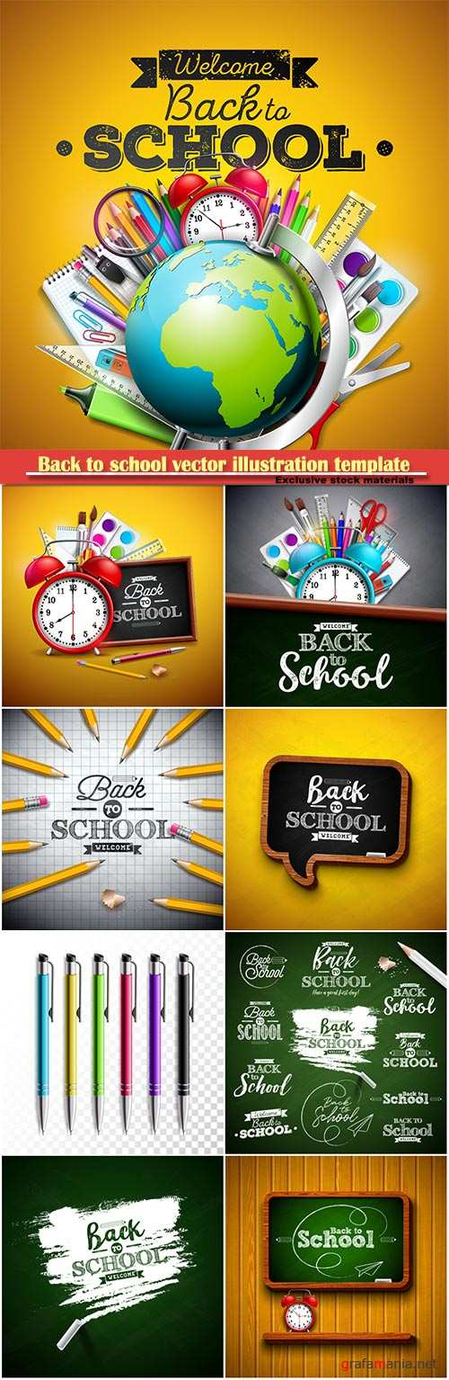 Back to school vector illustration template # 10
