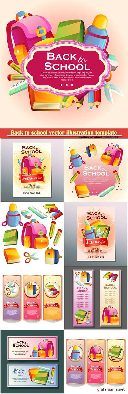 Back to school vector illustration template # 6