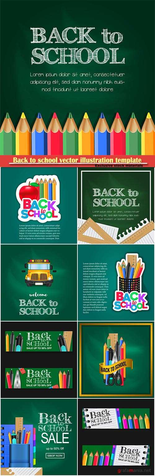 Back to school vector illustration template # 5