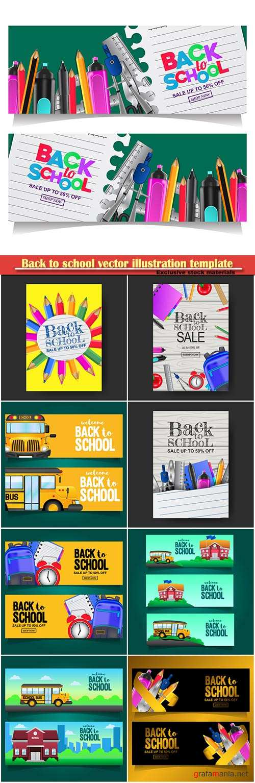 Back to school vector illustration template # 4