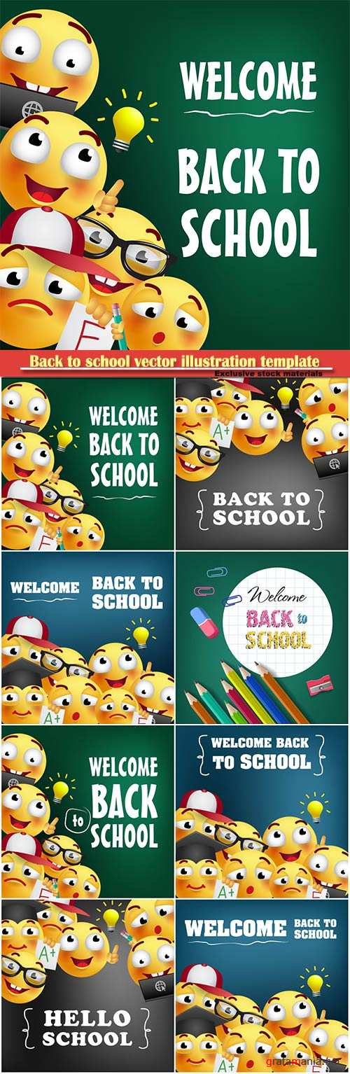 Back to school vector illustration template