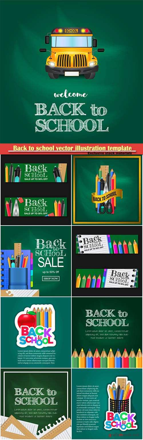 Back to school vector illustration template # 13