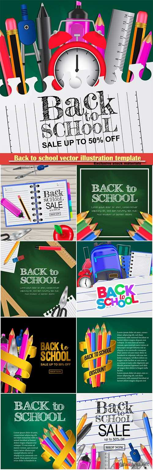 Back to school vector illustration template # 15