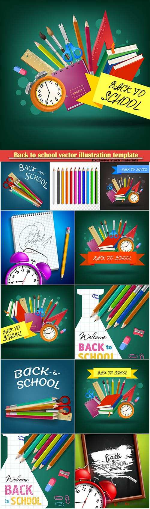 Back to school vector illustration template # 11
