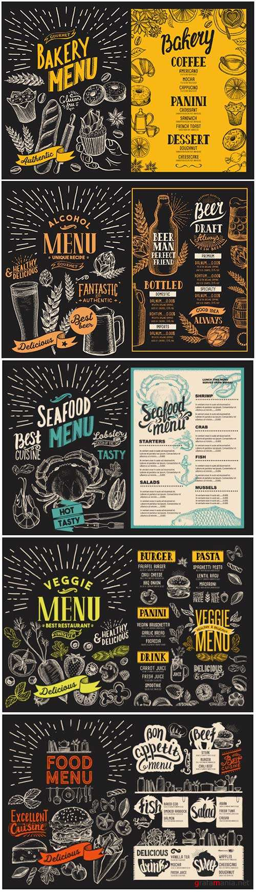 Vector food restaurant menu, design template with vintage hand-drawn flyer for bar and cafe # 5