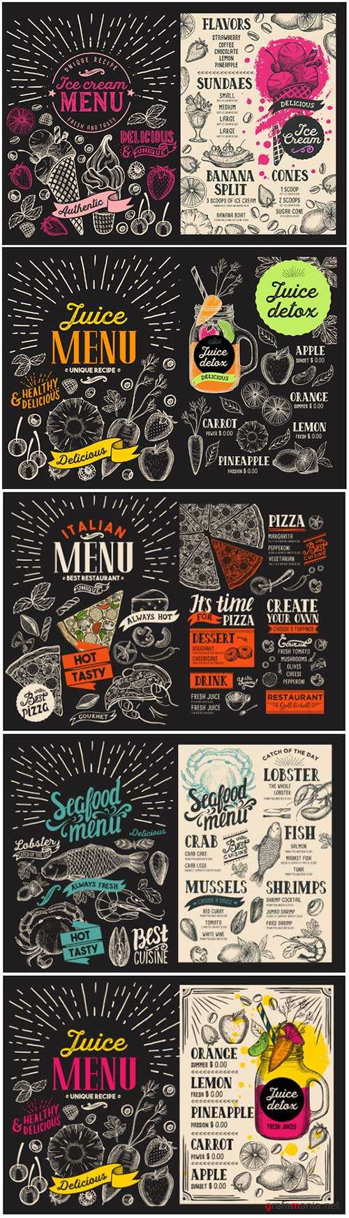 Vector food restaurant menu, design template with vintage hand-drawn flyer for bar and cafe # 4