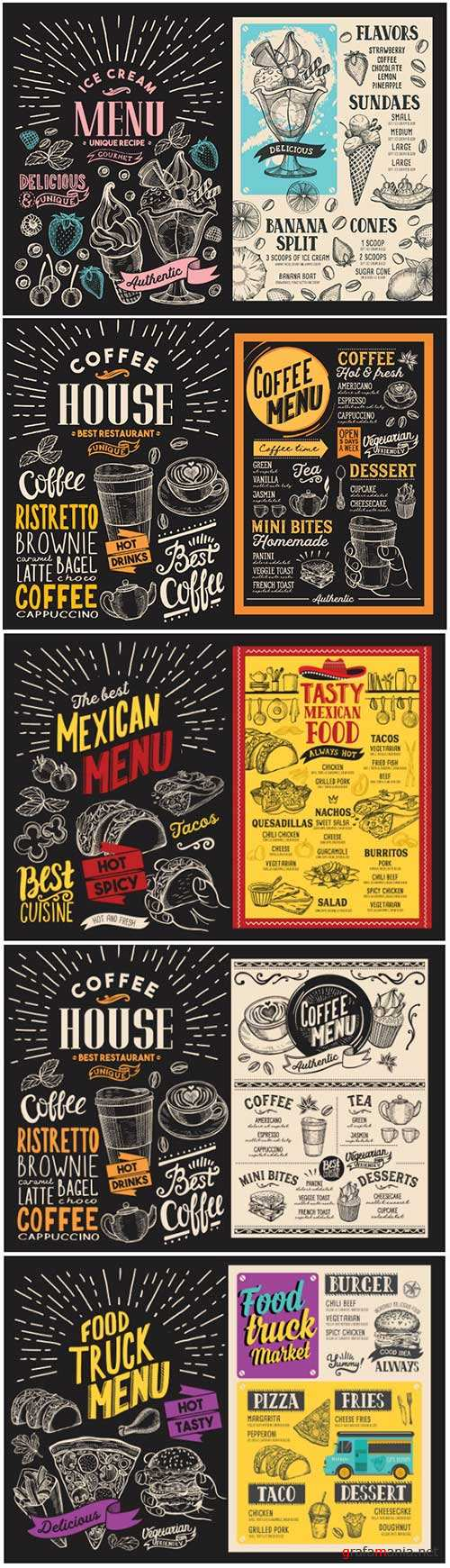 Vector food restaurant menu, design template with vintage hand-drawn flyer for bar and cafe # 3