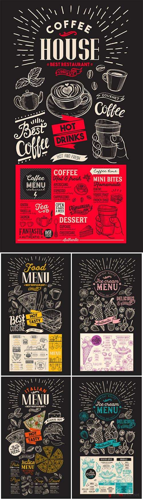 Vector food restaurant menu, design template with vintage hand-drawn flyer for bar and cafe # 2