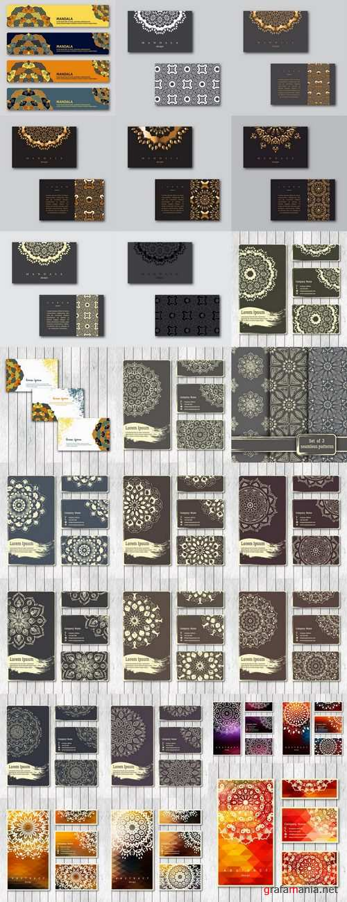 Business card Indian ethnic ornament pattern mandala flyer image a banner 25 EPS