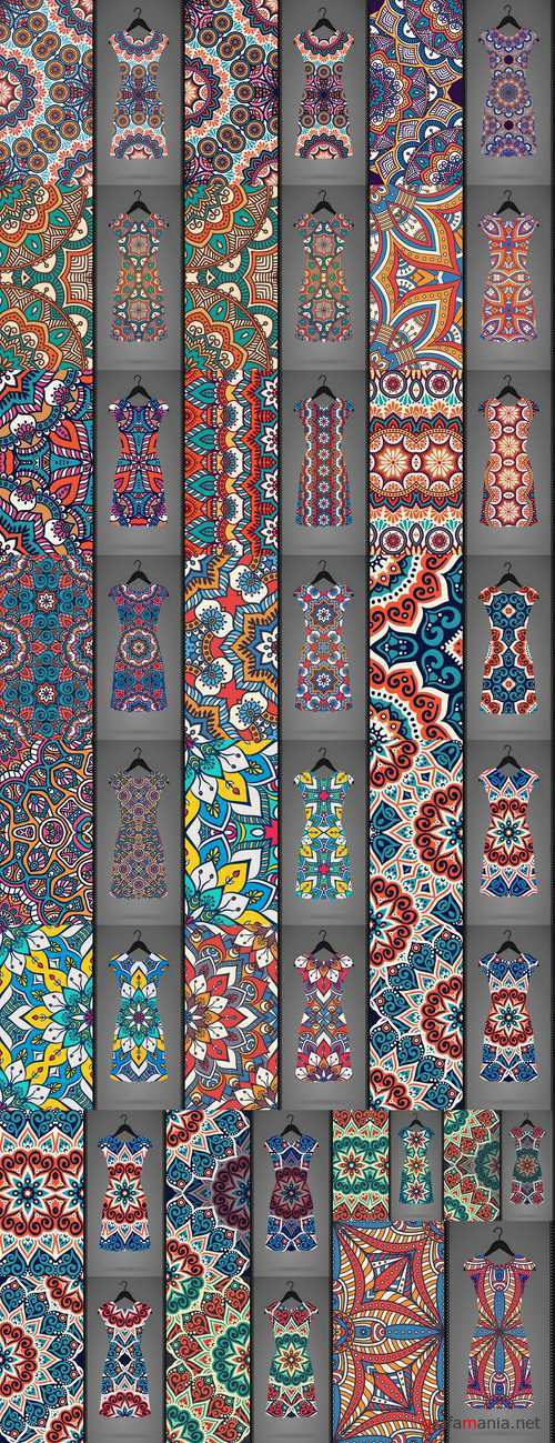 Dress clothing Indian ethnic ornament pattern mandala image banner 25 EPS