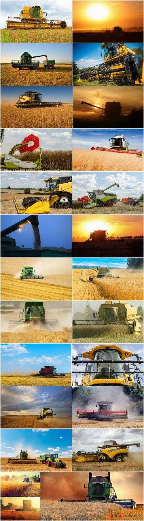 Combine tractor harvesting field of agricultural crop harvester 25 HQ Jpeg