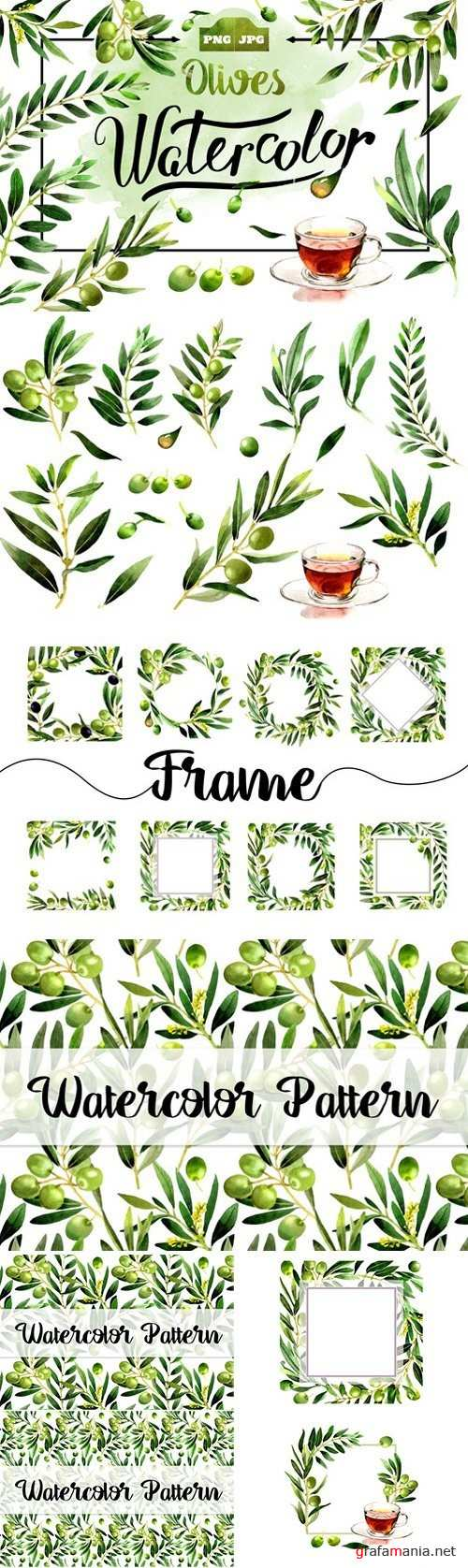 Olives watercolor PNG clipart - 1466479