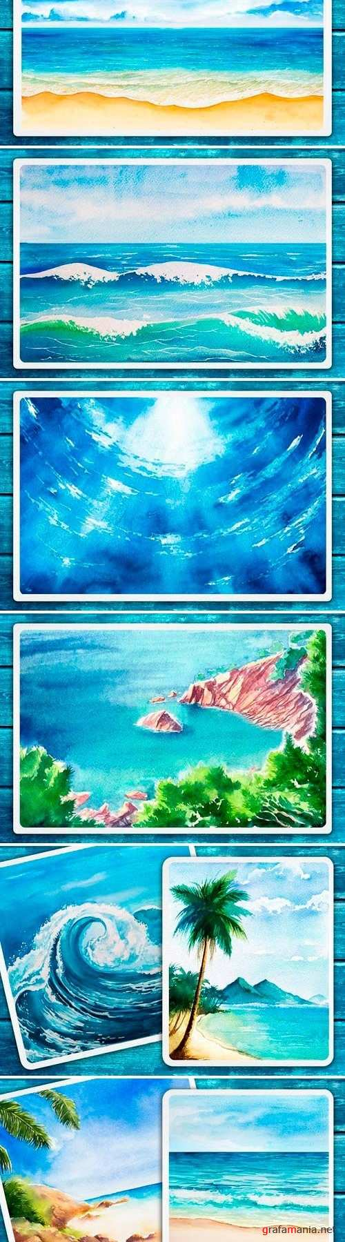 Seascapes. Watercolor illustrations - 1432806