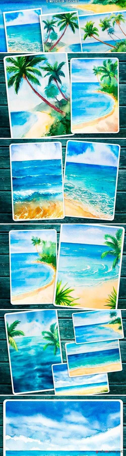 Seascapes 2. Watercolor set - 2599076