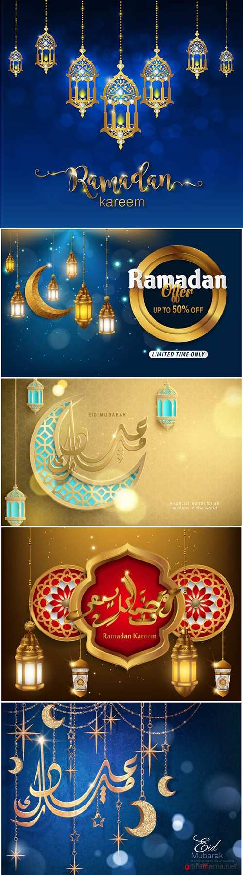 Ramadan Kareem vector calligraphy design with decorative floral pattern, mosque silhouette, crescent and glittering islamic background # 60