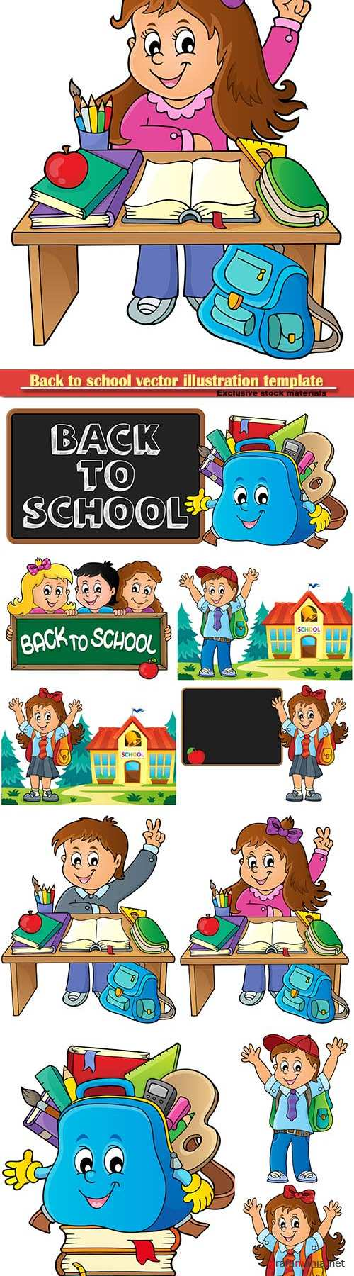 Back to school vector illustration template # 2