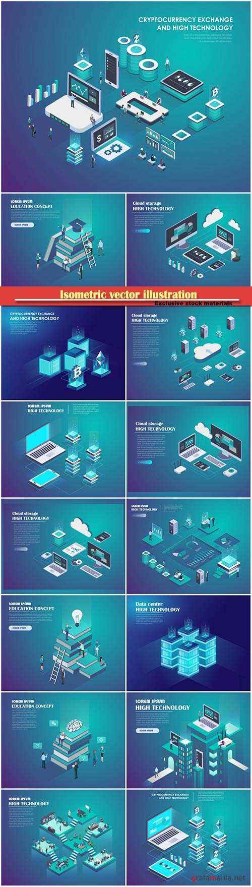 Isometric vector illustration, technology concept, header for website