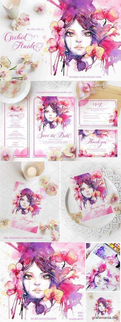 Orchid Fluide Watercolor Collection - 2849649