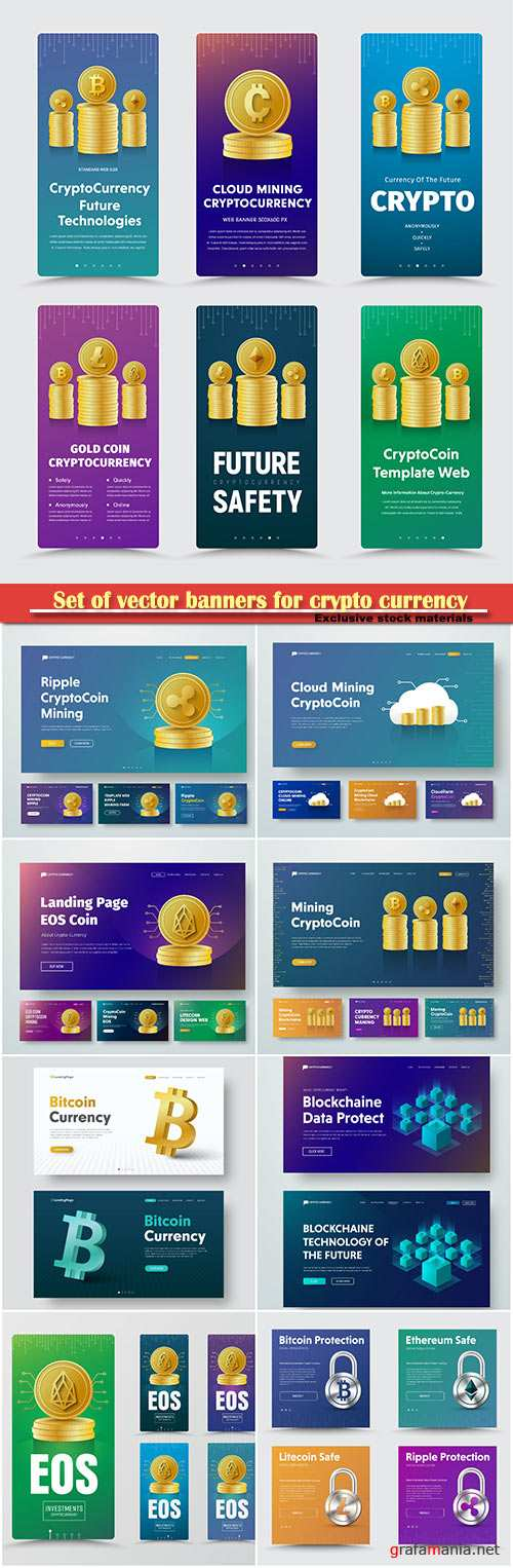 Set of vector banners for crypto currency with different gold coins, 3D coin-bitcoin icon