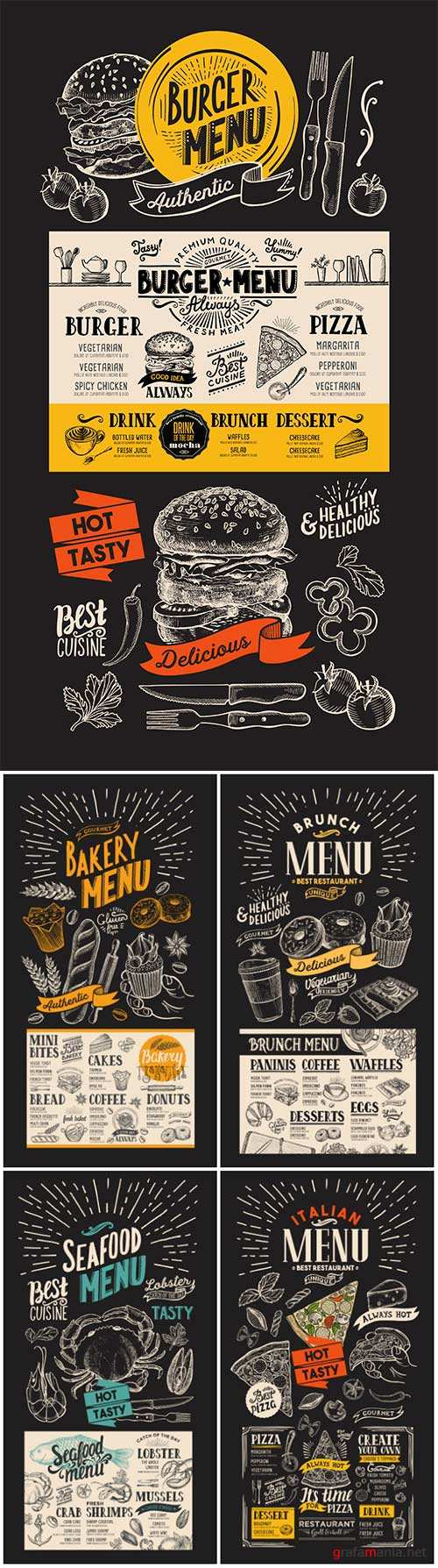Vector food restaurant menu, design template with vintage hand-drawn flyer for bar and cafe # 9