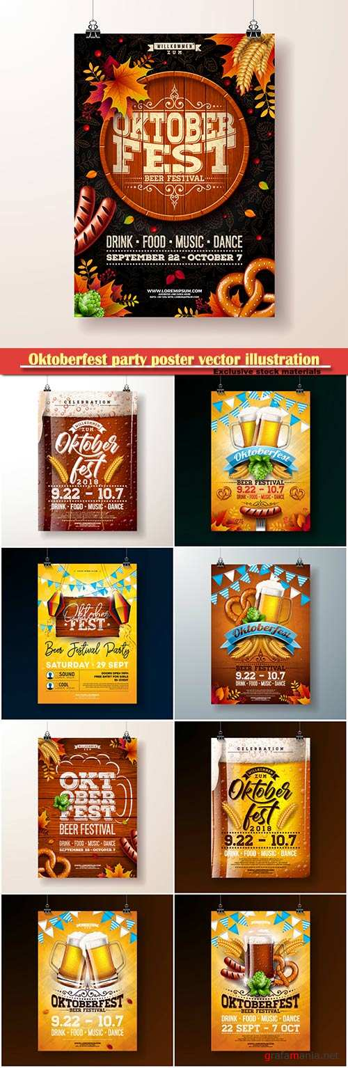 Oktoberfest party poster vector illustration, celebration flyer template for traditional German beer festival