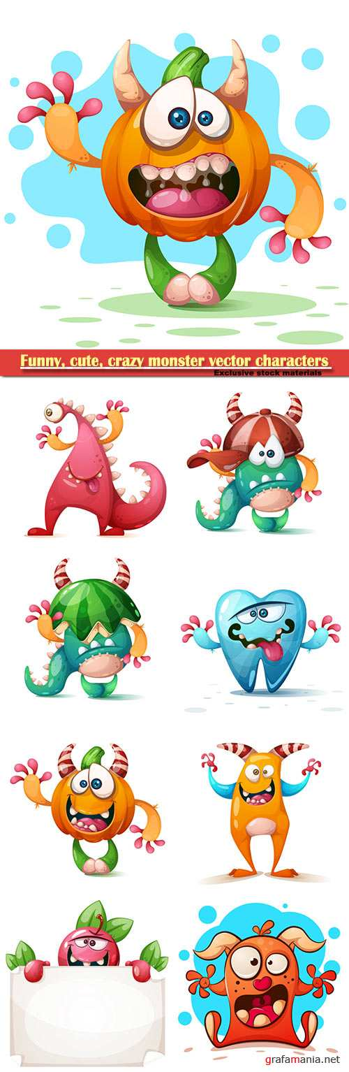 Funny, cute, crazy monster vector characters