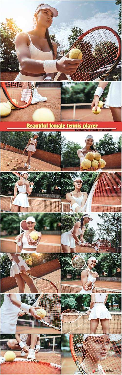 Beautiful female tennis player with tennis racket and ball in the sport club