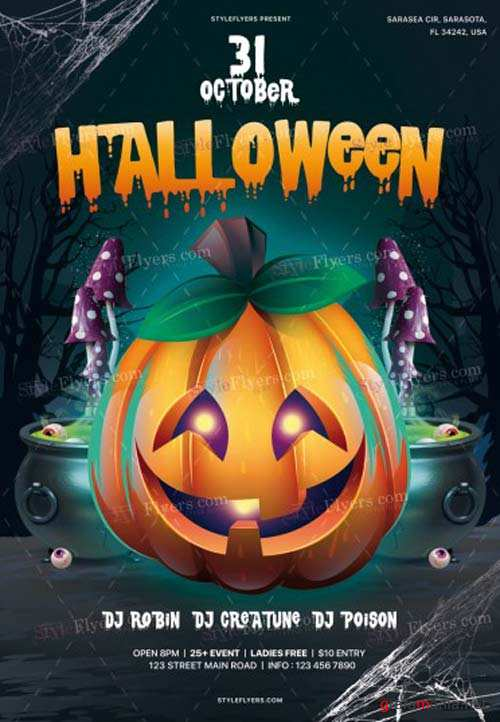 Halloween Party V8 2018 PSD Flyer Template