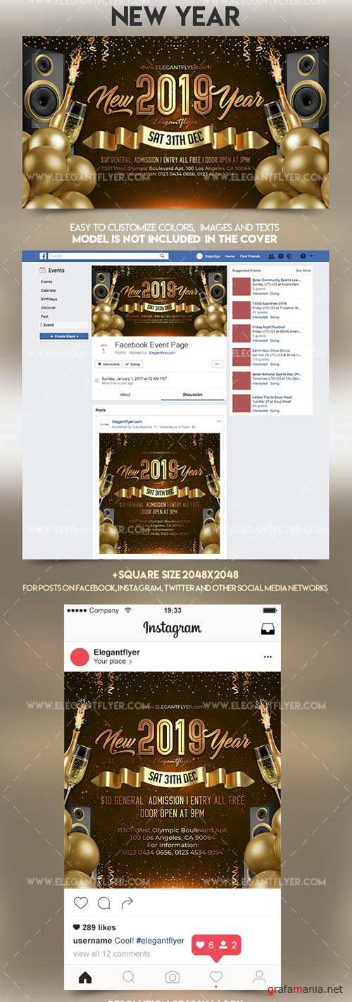 New Year V1 2018 Facebook Event + Instagram template + Youtube Channel Banner