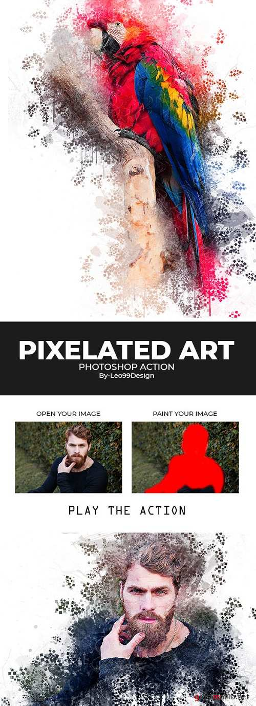 Pixelated Art Photoshop Action 22531992