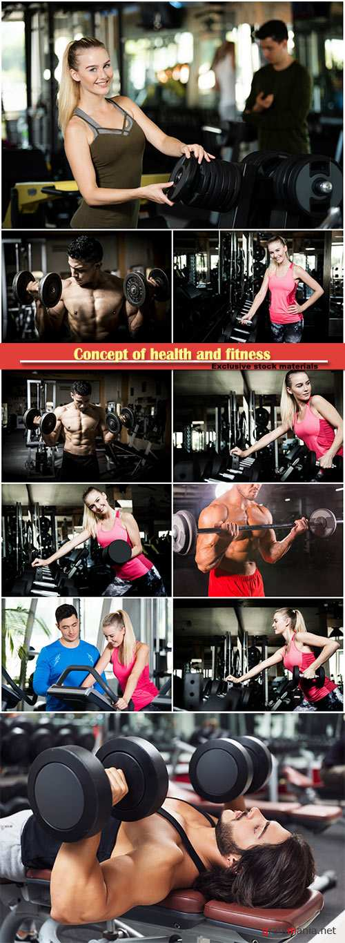 Concept of health and fitness, men and women in the gym