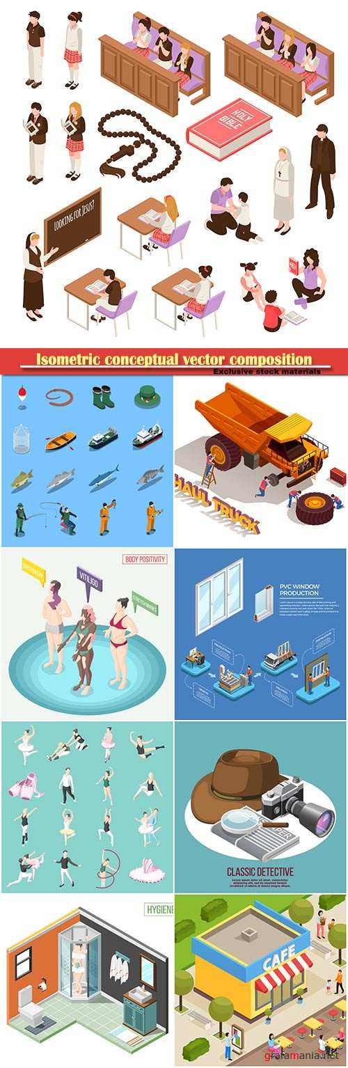 Isometric conceptual vector composition, infographics template # 29