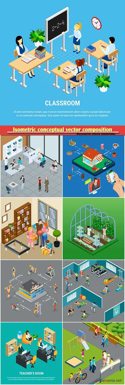 Isometric conceptual vector composition, infographics template # 30