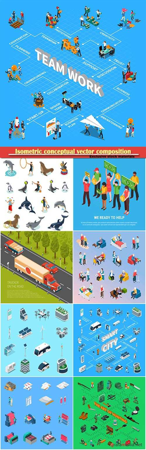 Isometric conceptual vector composition, infographics template # 28