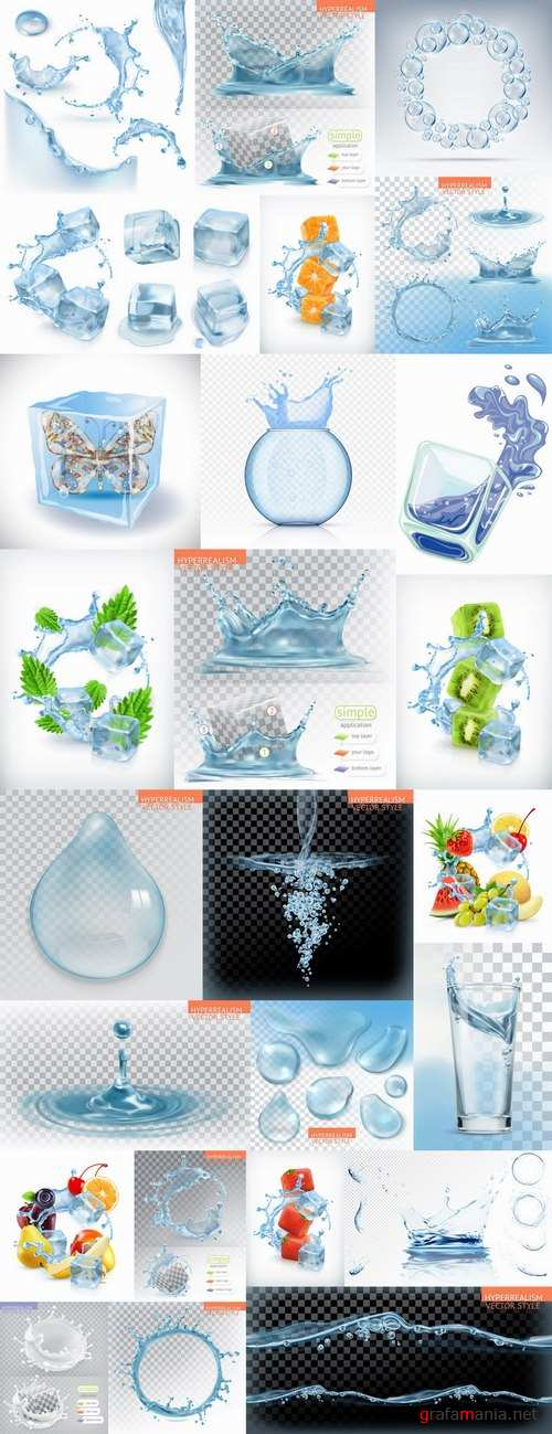 Water splash ice cube background is water droplet a splash of vector image 25 EPS