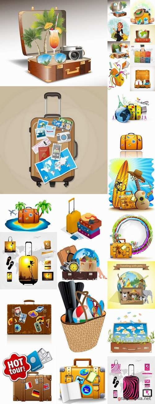 Bag suitcase tourism travel vacation Holidays vector image 25 EPS