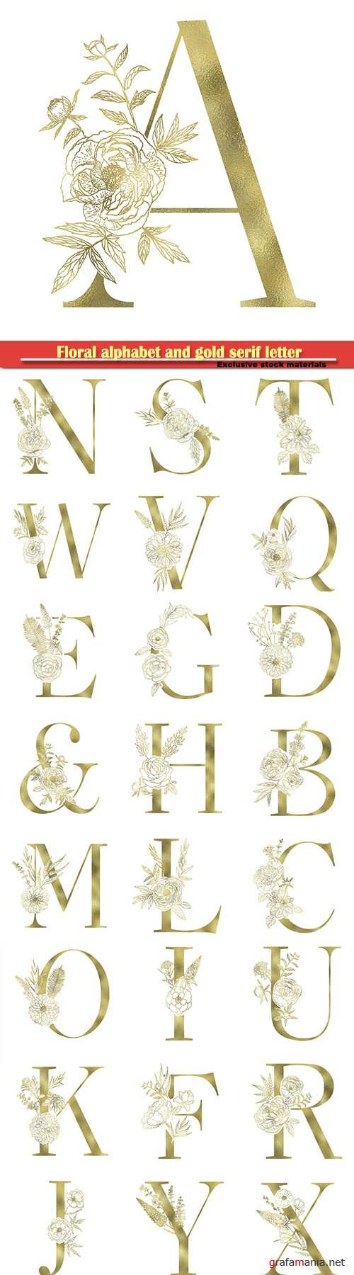 Floral alphabet and gold serif letter, vector decorative ABC