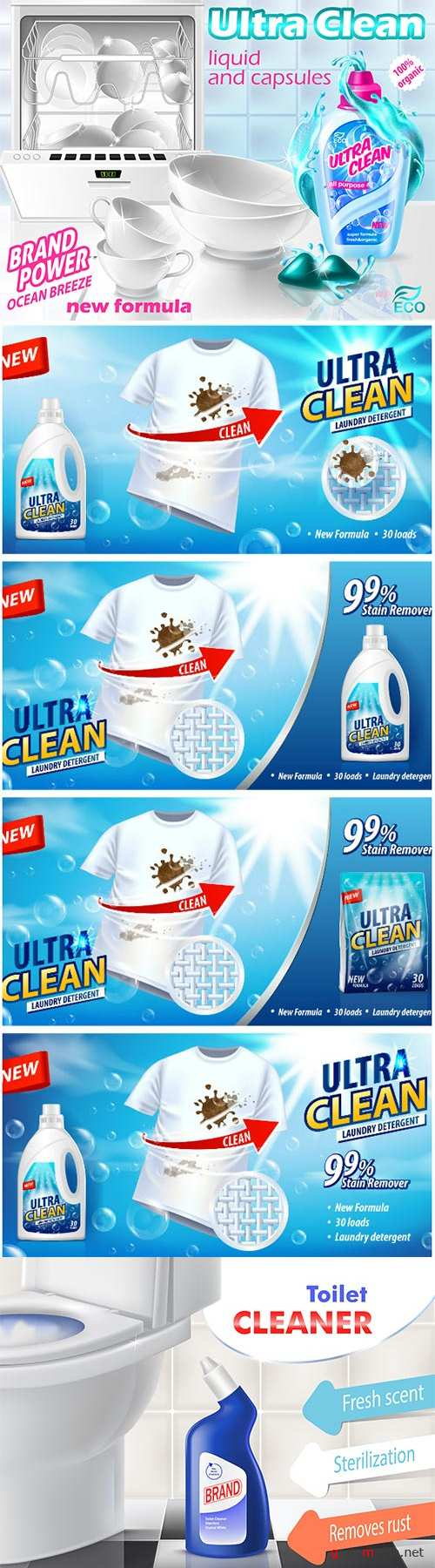 Mockup for brand advertising vector design, laundry detergent, liquid cleaner and capsules for dishwasher