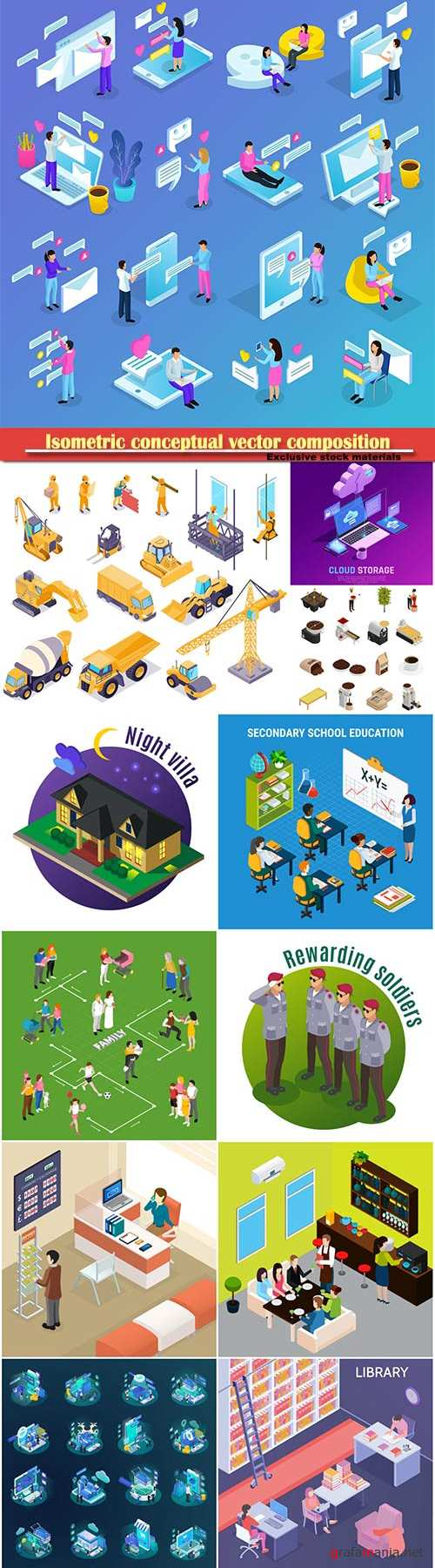Isometric conceptual vector composition, infographics template # 27
