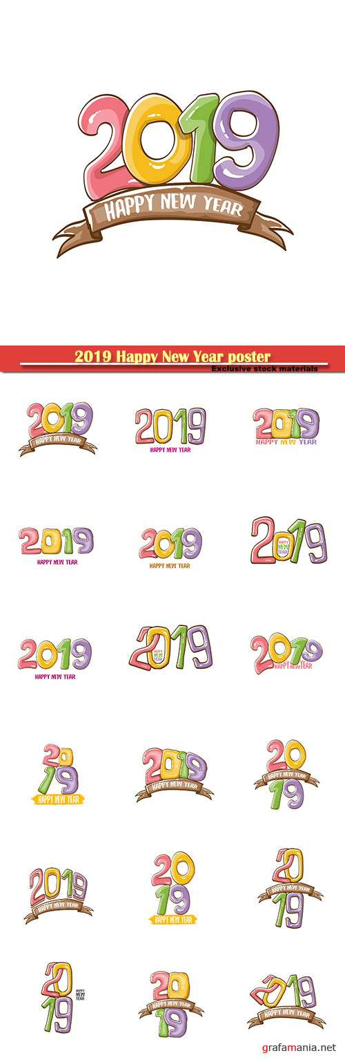 2019 Happy New Year poster or card design template